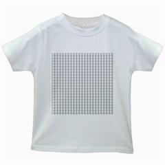 Christmas Silver Gingham Check Plaid Kids White T-Shirts