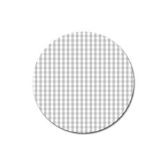 Christmas Silver Gingham Check Plaid Magnet 3  (Round)