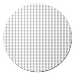 Christmas Silver Gingham Check Plaid Magnet 5  (Round)