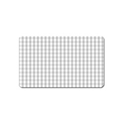 Christmas Silver Gingham Check Plaid Magnet (Name Card)