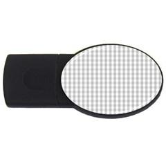 Christmas Silver Gingham Check Plaid USB Flash Drive Oval (1 GB)