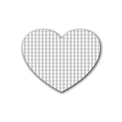 Christmas Silver Gingham Check Plaid Heart Coaster (4 pack)