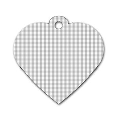 Christmas Silver Gingham Check Plaid Dog Tag Heart (one Side)