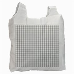 Christmas Silver Gingham Check Plaid Recycle Bag (one Side)