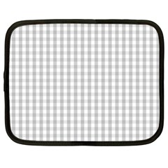 Christmas Silver Gingham Check Plaid Netbook Case (xl)