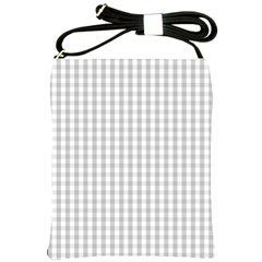 Christmas Silver Gingham Check Plaid Shoulder Sling Bags