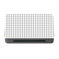 Christmas Silver Gingham Check Plaid Memory Card Reader with CF