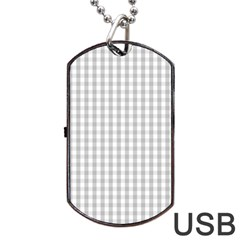 Christmas Silver Gingham Check Plaid Dog Tag USB Flash (Two Sides)