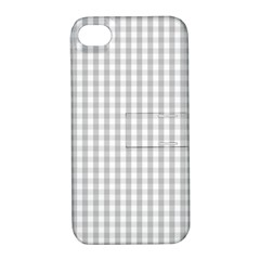 Christmas Silver Gingham Check Plaid Apple iPhone 4/4S Hardshell Case with Stand