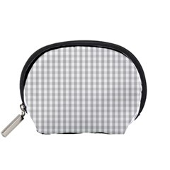 Christmas Silver Gingham Check Plaid Accessory Pouches (small)