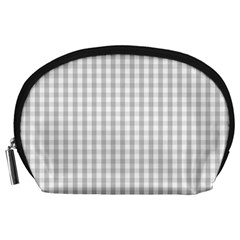 Christmas Silver Gingham Check Plaid Accessory Pouches (Large)