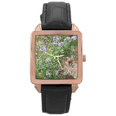 Purple Wildflowers Rose Gold Leather Watch