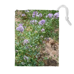 Purple Wildflowers Drawstring Pouches (Extra Large)