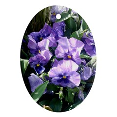 Purple Pansies Ornament (Oval)