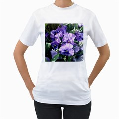 Purple Pansies Women s T-Shirt (White) (Two Sided)