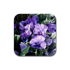 Purple Pansies Rubber Square Coaster (4 pack)