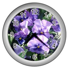 Purple Pansies Wall Clocks (Silver)