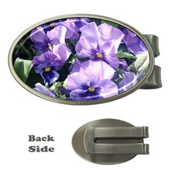 Purple Pansies Money Clips (Oval)