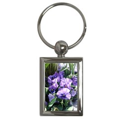 Purple Pansies Key Chains (Rectangle)