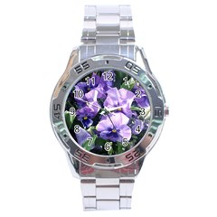 Purple Pansies Stainless Steel Analogue Watch
