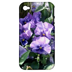 Purple Pansies Apple iPhone 4/4S Hardshell Case (PC+Silicone)
