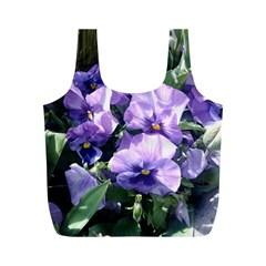 Purple Pansies Full Print Recycle Bags (M)