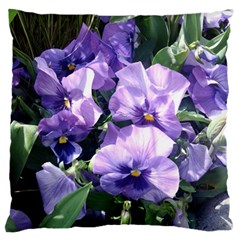 Purple Pansies Large Flano Cushion Case (One Side)