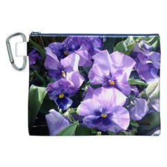 Purple Pansies Canvas Cosmetic Bag (XXL)
