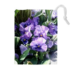 Purple Pansies Drawstring Pouches (Extra Large)