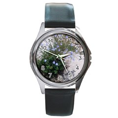 Purple Flowers On Boise River Round Metal Watch