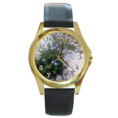 Purple Flowers On Boise River Round Gold Metal Watch