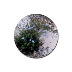 Purple Flowers On Boise River Rubber Round Coaster (4 pack)