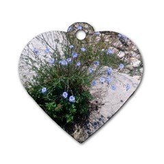 Purple Flowers On Boise River Dog Tag Heart (Two Sides)