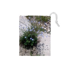 Purple Flowers On Boise River Drawstring Pouches (Small)