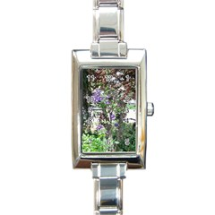 Purple Clematis Rectangle Italian Charm Watch