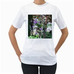 Purple Clematis Women s T-Shirt (White) (Two Sided)