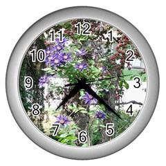Purple Clematis Wall Clocks (Silver)
