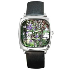 Purple Clematis Square Metal Watch