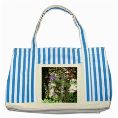 Purple Clematis Striped Blue Tote Bag