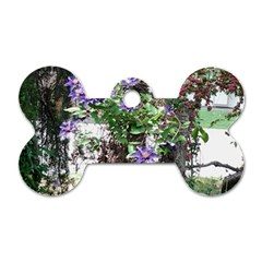 Purple Clematis Dog Tag Bone (One Side)