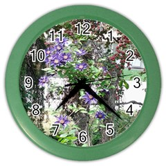 Purple Clematis Color Wall Clocks