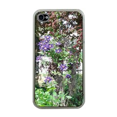Purple Clematis Apple iPhone 4 Case (Clear)