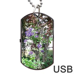 Purple Clematis Dog Tag USB Flash (Two Sides)