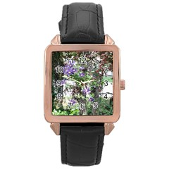Purple Clematis Rose Gold Leather Watch