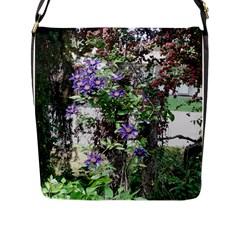 Purple Clematis Flap Messenger Bag (L)