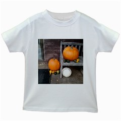 Pumpkins And Gourds Kids White T-Shirts