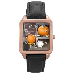 Pumpkins And Gourds Rose Gold Leather Watch