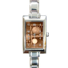 Pumpkins And Gourds Sepia Rectangle Italian Charm Watch