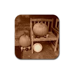 Pumpkins And Gourds Sepia Rubber Square Coaster (4 pack)