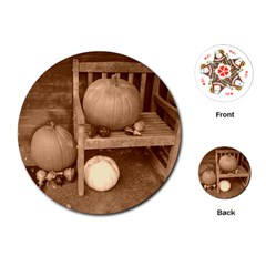 Pumpkins And Gourds Sepia Playing Cards (Round)